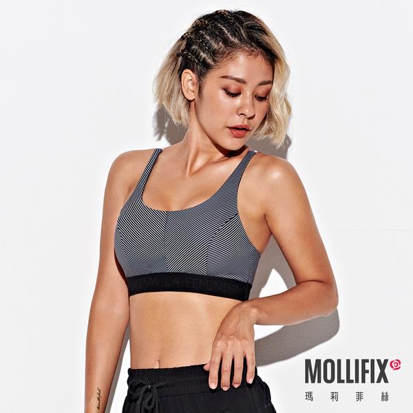 Mollifix 瑪莉菲絲 俐落Y背下擺織帶運動內衣 (黑白條紋)