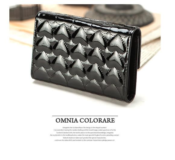 OMC - 奢華亮面真皮款心鑽三折式中夾-經典黑