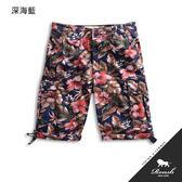 【Roush】(Slim Fit)美式花紋窄管設計雙口袋水洗短褲 - 【8068-1】