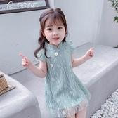 女童洋裝女童21夏無袖連身裙漢服韓版公主裙古箏蕾絲裙中國風寶寶演出服 快速出貨