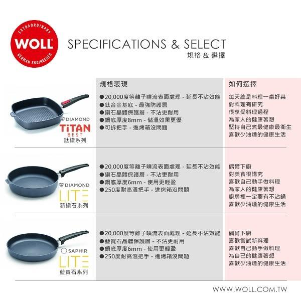 《WOLL》德國歐爾 - 鈦鑽系列32cm鑄造不沾長柄中華鍋(1132-1TBL)