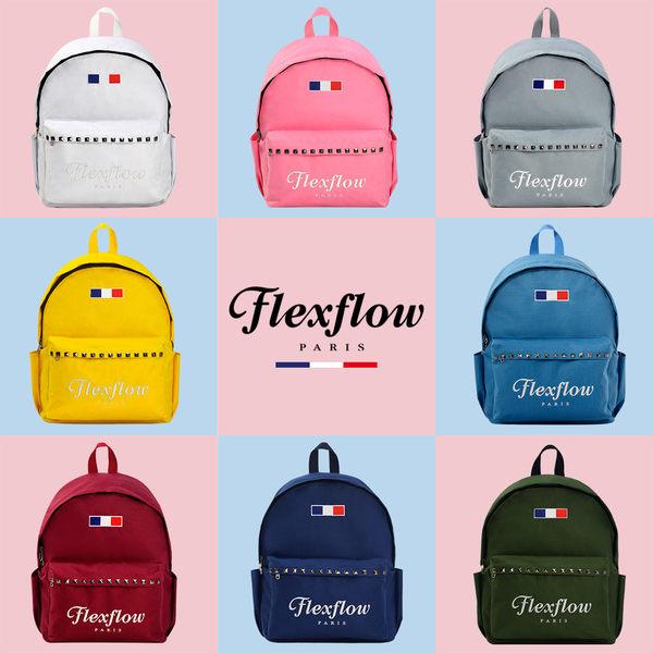 Flexflow-龐畢度系列法式復古刺繡鉚釘背包-白底葉紋