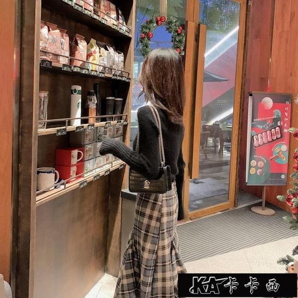 中長款高腰不規則格子半身裙女2021秋冬裝新款女裝A字包臀魚【全館免運】