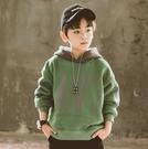 衣童趣(•‿•)韓版大男童 街頭風帽T 冬季加厚加絨 保暖T恤 大字母 帥氣長袖上衣