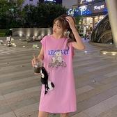 背心裙 連身裙女夏季韓版中長款背心裙寬鬆卡通減齡無袖T恤顯瘦外穿ins潮 伊蘿