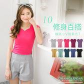 OrangeBear《AA3699》修身百搭~韓版小V領素色羅紋T恤‧10色--適 XL~5L