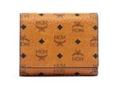 MCM VISETOS Small 三折短夾 皮夾 品牌經典圖騰皮革 駝色