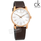 CK / K2G23620 / City 都會女伶 時尚品味 礦石強化玻璃 瑞士製造 壓紋皮革手錶 銀x玫瑰金框x咖啡 31mm