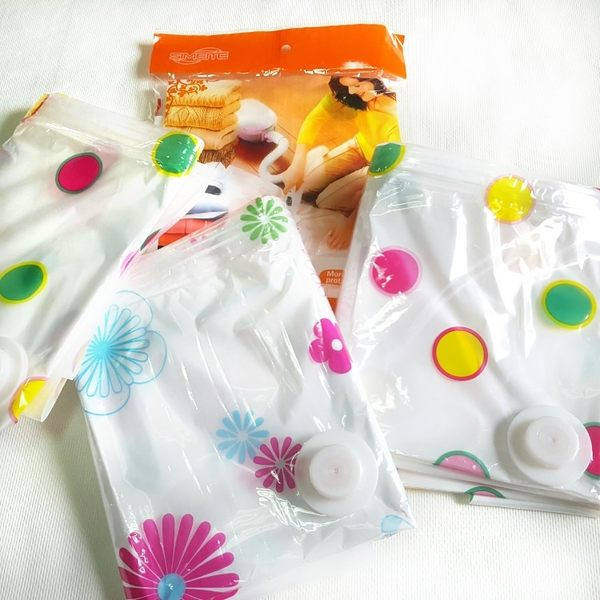 壓縮袋 【BPB007】多功能真空衣被印花壓縮袋收納袋70*100cm 防潮 防蟲 素面透明 123ok