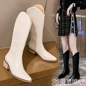 長靴 2021年新款春秋單靴網紅不過膝V口高筒長靴女尖頭粗跟騎士馬丁靴 嬡孕哺 新品