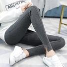 內搭褲 棉打底褲女秋季新款外穿薄款修身顯瘦中大尺碼緊身彈力灰色九分小腳褲