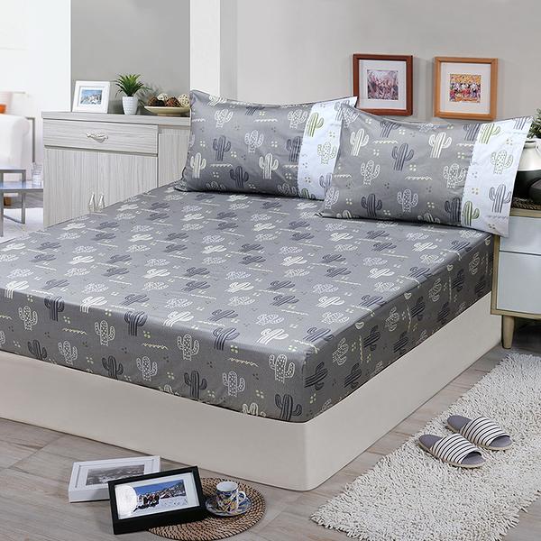 【FITNESS】精梳棉單人床包枕套二件組-仙人掌_TRP多利寶
