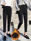 西裝褲女九分2020新款秋冬黑色西褲寬鬆加絨褲子女高腰直筒煙管褲 果果輕時尚