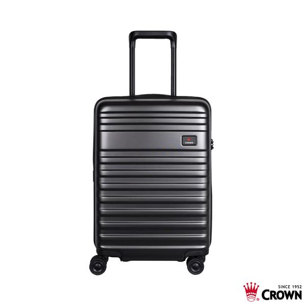 CROWN皇冠 21吋可登機/行李箱 2:8開防盜拉鍊 純PC 旅行箱-(藏青) CF1788