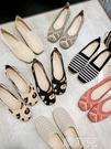 半拖鞋 網紅平底女針織單鞋透氣軟底芭蕾舞豆豆鞋百搭飛織懶人鞋 韓菲兒