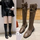 女靴年新款韓版百搭粗跟長靴女過膝長筒靴女士鞋子秋季騎士靴   蘑菇街小屋