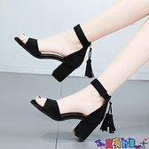 流蘇一字帶露趾涼鞋女夏季中跟韓版百搭高跟女士鞋羅馬高跟女鞋子 寶貝計畫 618狂歡