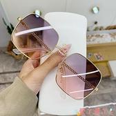 墨鏡新款鏤空鏡腿大框方框太陽鏡女大臉顯瘦眼鏡沙灘網紅款墨鏡遮陽鏡 愛丫 免運