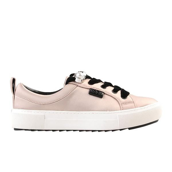 Karl Lagerfeld 卡爾 老佛爺 女鞋  LUXOR珍珠綁帶休閒鞋-粉紅