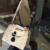 韓國大容量休閒帆布包多口袋實用單肩手提斜背包女士大包 交換禮物