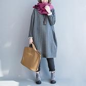 漂亮小媽咪 文藝洋裝 【D6004】 純色 麻花 保暖 寬鬆 長袖 長版衣洋裝 落肩 孕婦裝 加大 []