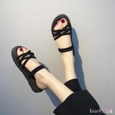 中大尺碼厚底涼鞋 韓版兩用半拖鞋度假沙灘羅馬女鞋潮 HT23786