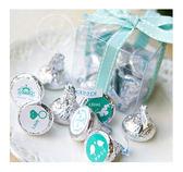 幸福朵朵【(情人特別版)KISSES水滴巧克力(8顆入)小禮盒(Tiffany色緞帶)】宴客婚禮小物/情人節