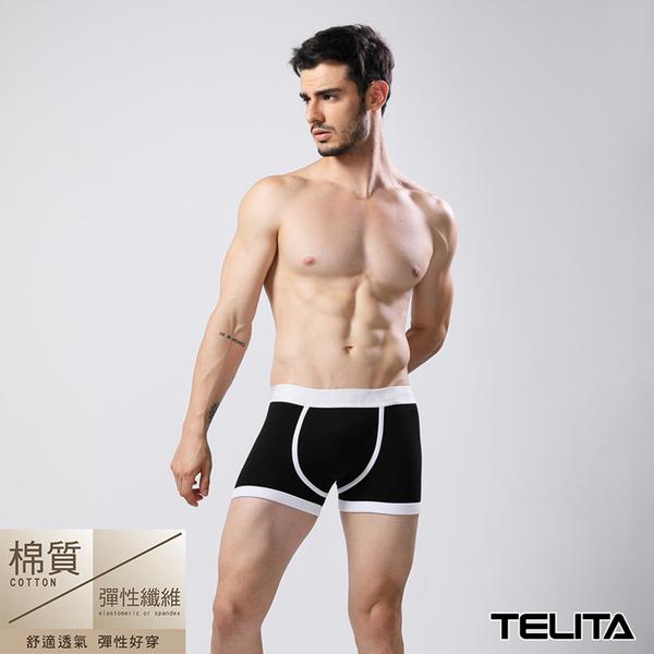 男內褲【TELITA】潮流個性運動平口褲 四角褲 黑色