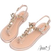 Ann'S華麗訂製T型水鑽寶石小坡跟夾腳涼鞋-金
