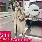 免運★梨卡 - 韓國高品質挺版寬鬆長版卡其色顯瘦縮腰抽繩立領西裝防風外套風衣長大衣AR003