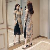 洋裝-七分袖立領雪紡假兩件中國風女連身裙2色73ri20[巴黎精品]