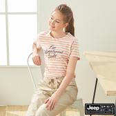 【JEEP】女裝 修身條紋短袖TEE-條紋粉