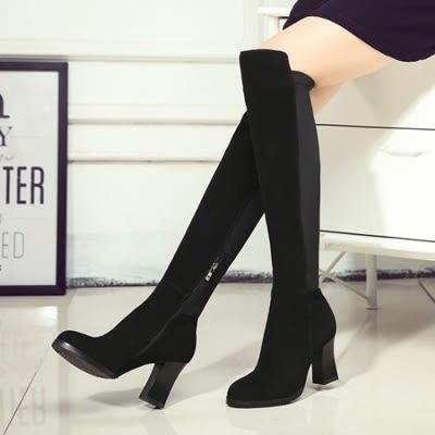 真皮過膝靴-歐美時尚率性百搭粗跟女長靴73iv32[時尚巴黎]