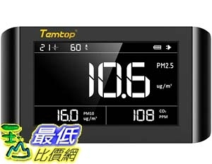 [9美國直購] PM2.5/PM10 空氣品質測量儀 Temtop P1000 Air Quality Monitor for PM2.5 PM10 CO2 Temperature Humidity