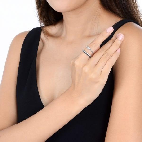 點睛品 Fingers Play 時尚混搭18K金鑽石戒指線戒(黑鑽)
