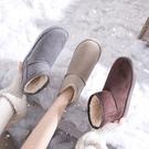 雪地靴女冬加絨中筒加厚平底百搭厚底學生韓版一腳蹬棉鞋