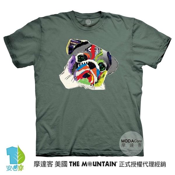 摩達客-預購-(大尺碼4、5XL)美國進口The Mountain 彩虹哈巴狗 純棉環保藝術中性短袖T恤