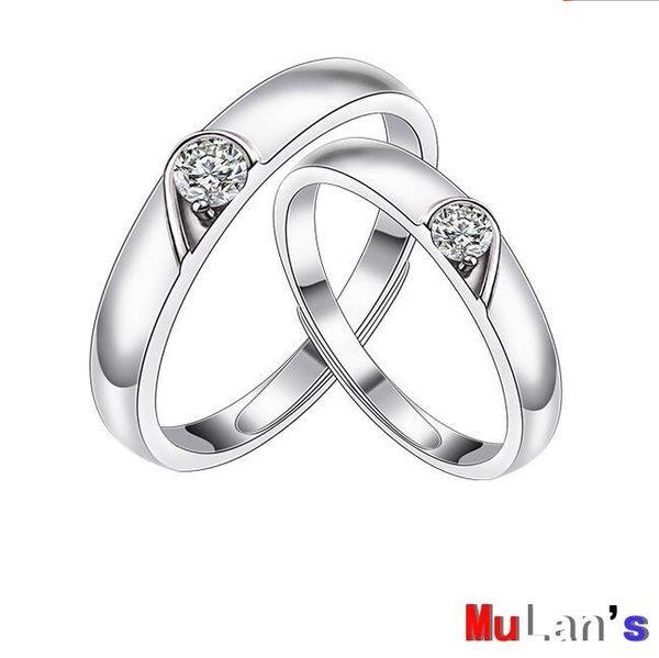 銀戒指 純銀 對戒 時尚 心形 銀戒指 一對 開口 活口