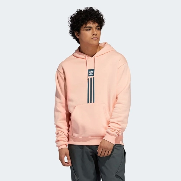ADIDAS SOLID PILLAR HOODIE 粉橘 三線 棉 T恤 加絨 衛衣 帽T 男 (布魯克林) EH5265