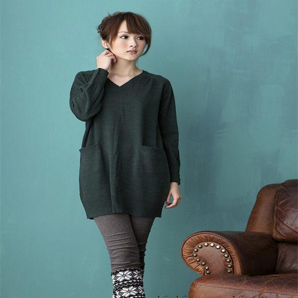 針織衫【10101 】(1871 )FEELNET中大尺碼女裝秋裝新款打底衫長袖中長款針織衫 40碼