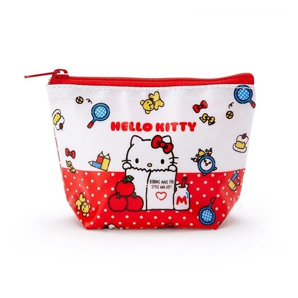 小禮堂 Hello Kitty 船形尼龍零錢包 防水零錢包 小物包 耳機包 (紅白 紙袋) 4550337-73445