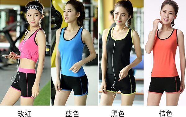 瑜伽健身服套裝跑步服套夜跑速幹T恤女運動胸罩短褲  - dixia003