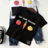 兒童短袖T恤2019夏新款男女童寶寶立體字母水果蔬菜上衣爆款0942