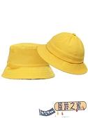 兒童遮陽帽防嗮幼兒園小黃帽兒童漁夫帽帽子防風繩小學生太陽帽【風鈴之家】