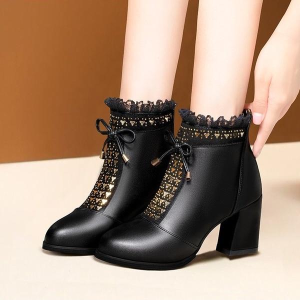 短靴女粗跟媽媽靴2021年秋冬新款時尚圓頭高跟馬丁靴百搭女士裸靴 3C數位百貨