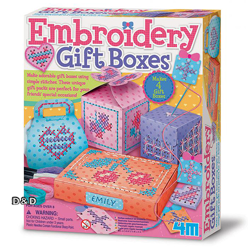 《4M美勞創作》刺繡禮物盒 Embroidery Gift Boxes ╭★ JOYBUS玩具百貨