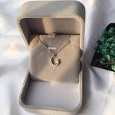 簡約閃?不規則月牙氣質月亮S925純銀項鍊鎖骨鍊氣質禮物女送朋友