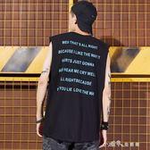 嘻哈夏季潮牌青少年字母印花寬鬆籃球坎肩汗背心潮男健身無袖衫