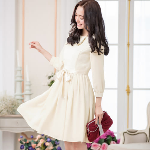 中大尺碼*小香風混紡雪紡七分袖綁帶連身裙洋裝~美之札