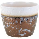 【荷蘭PTMD】活力冰淇淋質感花盆(園藝用品/ 巧克力褐象牙白口/ 14x14x12cm)